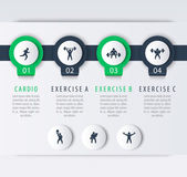 Gym training workout 4 steps infographic elements with fitness exercise icons vector illustration