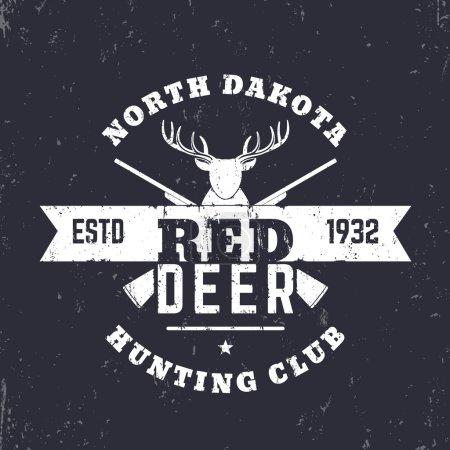 Deer Hunting Club vintage logo, badge, with crossed rifles, guns, vector illustration