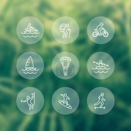 extreme outdoor activities round transparent line icons, vector illustration