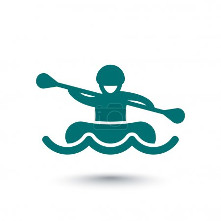 Rafting isolated icon, man in boat, oarer icon, vector illustration