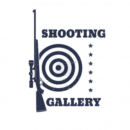 Shooting Gallery Grunge emblem, sign with rifle, isolated over white, vector illustration