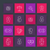Currency line icons forex trading money investment square icons set vector illustration