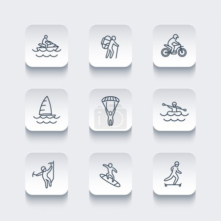 extreme outdoor activities line rounded square icons, vector illustration