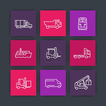 Transportation, line icons, forklift, cargo ship, freight train, kinds of transportation, mode of transport square icons, vector