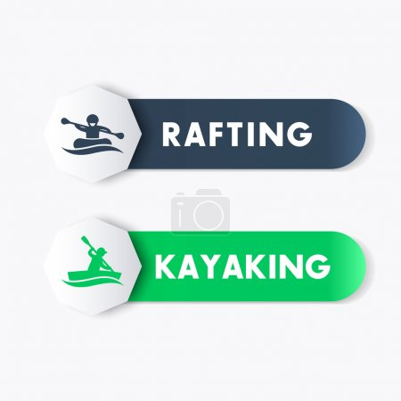 Kayaking, rafting icons, banners, labels in blue and green over white, vector illustration