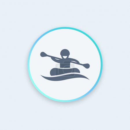 Rafting round icon, man in boat, oarer icon, vector illustration