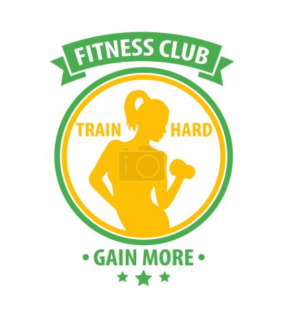 Fitness Club bright color logo, print with athletic girl over white, vector illustration