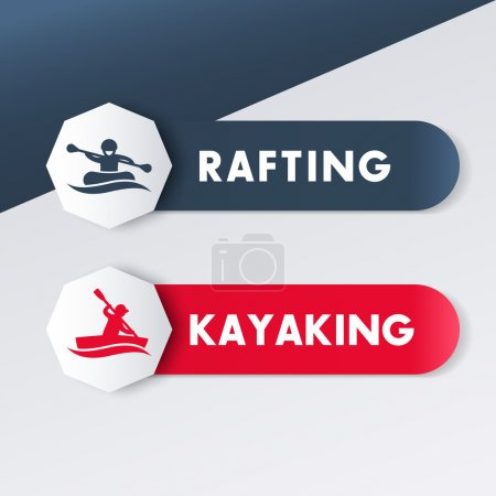Kayaking, rafting logos, icons, banners, labels in blue and red, vector illustration