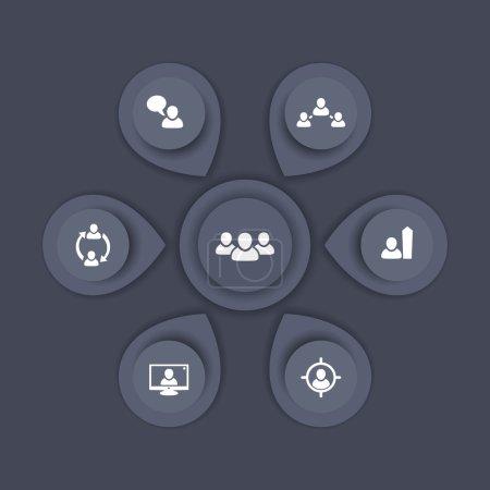 Illustration pour Gestion du personnel, RH, ressources humaines, éléments d'infographie de GRH, gabarit gris, illustration vectorielle - image libre de droit