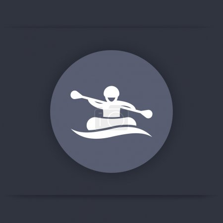 Rafting round flat icon, man in boat, rowing icon, vector illustration