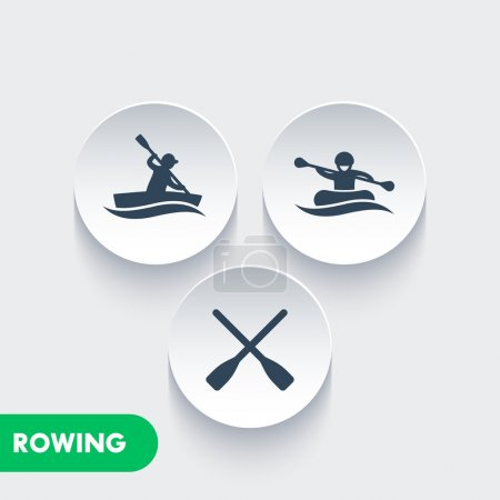 Rowing icons, kayaking, rafting, canoe, rower, oars icons on round 3d shapes, vector illustration