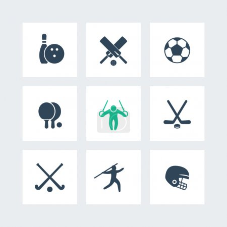 sport, games, competition icons, ping-pong, football, cricket, soccer, hockey icon, vector illustration