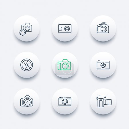 camera, photography line icons, dslr, aperture, round modern icons set, vector illustration