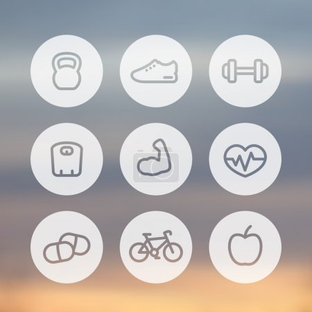 Fitness thick line icons, healthy lifestyle round linear icons, training, workout, biceps, vector illustration