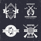 guns and ammo vintage logo badge with automatic rifles crossed revolvers two pistols shooting gallery logo sign with assault