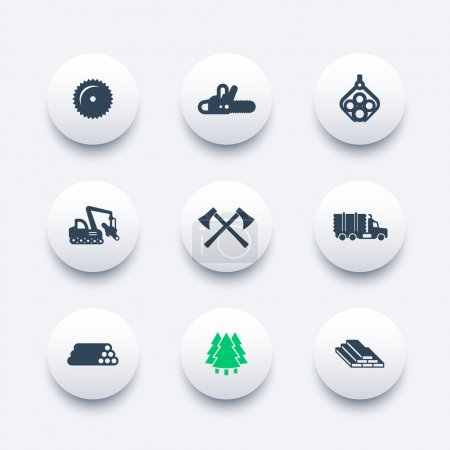 Logging icons, forestry equipment, sawmill, logging truck, tree harvester, timber, wood, lumber round modern icons, vector illustration