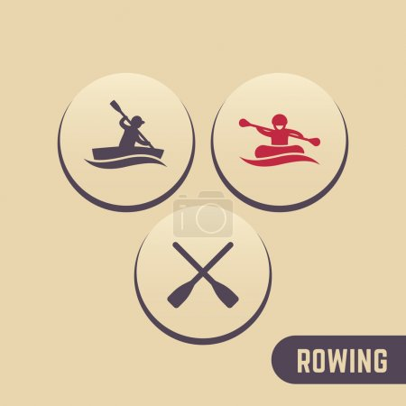 Rowing icons, kayaking, rafting, canoe, oars round icons, vector illustration