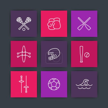 sports and games line icons on squares, vector illustration