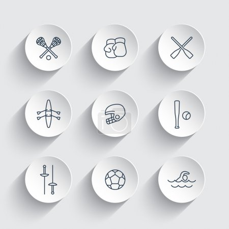 sports and games line icons on round 3d shapes, vector illustration