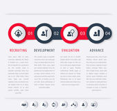 Staff HR staff development steps timeline template infographics elements icons vector illustration