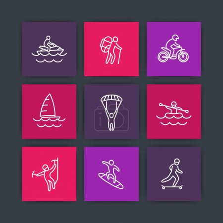 Extreme outdoor activities line icons, square icons set, vector illustration