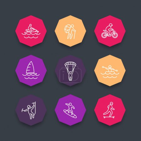 Extreme outdoor activities line icons, color octagonal set, vector illustration