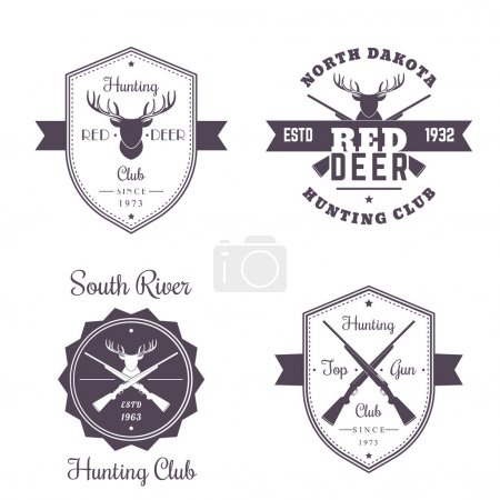Hunting club vintage logo, badges, emblems with crossed hunting rifles, deer head, isolated on white, vector illustration