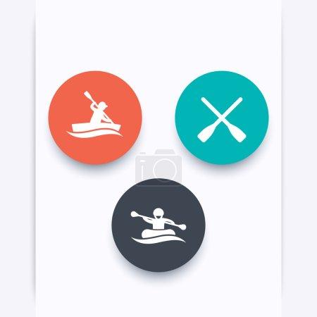 Rowing, kayaking, rafting, canoe, oars round icons, vector illustration