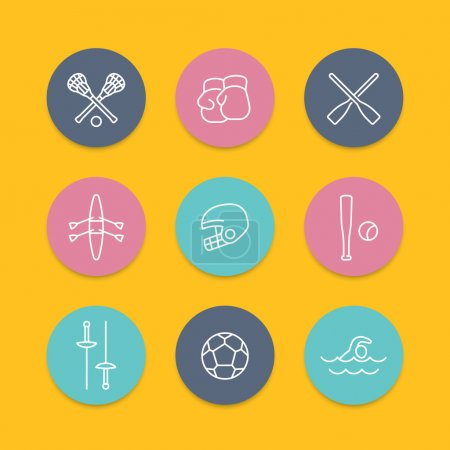 sports and games line icons, round flat set, vector illustration