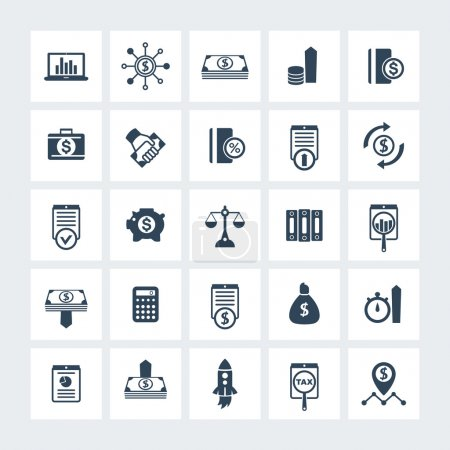 25 finance, investing icons, venture capital, investment, shares, stocks, investor, funds, money, income icons on squares, vector illustration