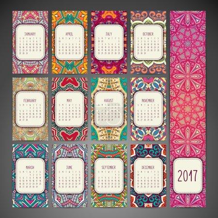 Calendar 2017. Vintage decorative elements
