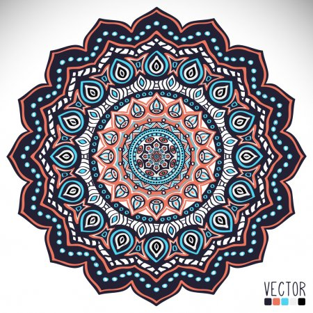 Illustration for Mandala. Round Ornament Pattern. Vintage decorative elements. Hand drawn background. Islam, Arabic, Indian, ottoman motifs. - Royalty Free Image