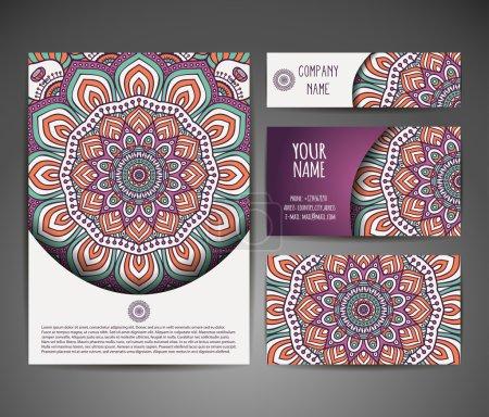 Illustration pour Collection Carte de visite ou invitation, Fond vectoriel, Eléments décoratifs vintage, Fond dessiné à la main . - image libre de droit