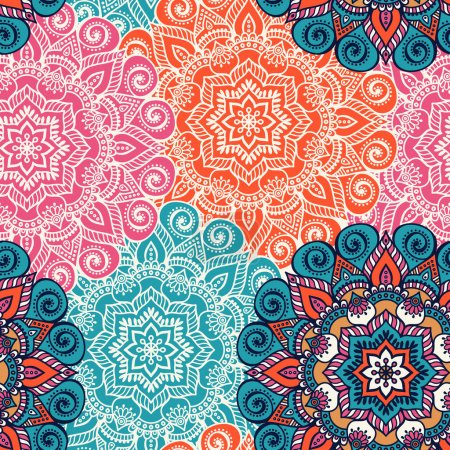 Illustration for Seamless pattern. Vintage decorative elements. Hand drawn background. Islam, Arabic, Indian, ottoman motifs. Perfect for printing on fabric or paper. - Royalty Free Image