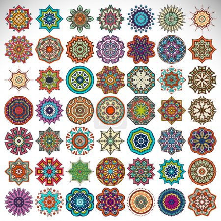 Illustration for Vector mandala collection. Vintage decorative elements. Hand drawn background. Islam, Arabic, Indian, ottoman motifs. - Royalty Free Image
