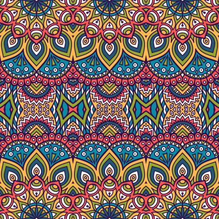 Illustration for Ethnic floral seamless pattern. Abstract ornamental pattern - Royalty Free Image