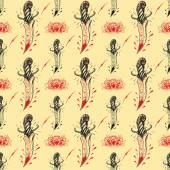 Tattoo seamless Pattern in old school style 02