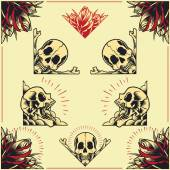 Skull and Rose Frames in old school tattoo style set 01