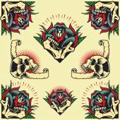 Skull and Rose Frames in old school tattoo style set 04