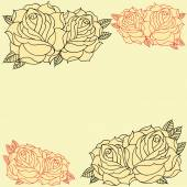 Roses frame line work in old school Tattoo style set 08