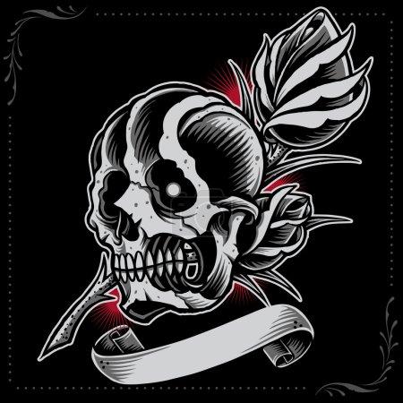 Skull, Rose and Ribbon