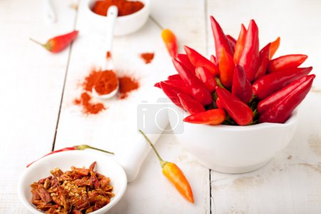 Foto de Chili peppers fresh and dry, smoked paprika on a white wooden background. Copy space - Imagen libre de derechos