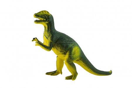 Dilophosaurus dinosaur toy figure isolated on white.