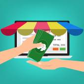 Hand give banknote money for shopping online
