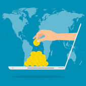 Hand putting gold money from laptop with internet for income