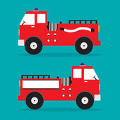 Fire truck red engine car with shadow on blue background Vector illustration