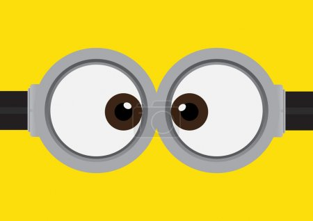 Vector illustration of goggle with two eyes on yellow color background