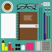Pohled shora moderní podnikání a kancelář položek na zeleném stole