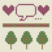 Heart dialog line and tree patterns in cross stitch