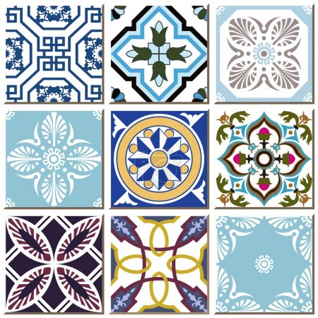 Illustration for Antique retro ceramic tile pattern set collection can be used for wallpaper, web page background, surface textures. - Royalty Free Image